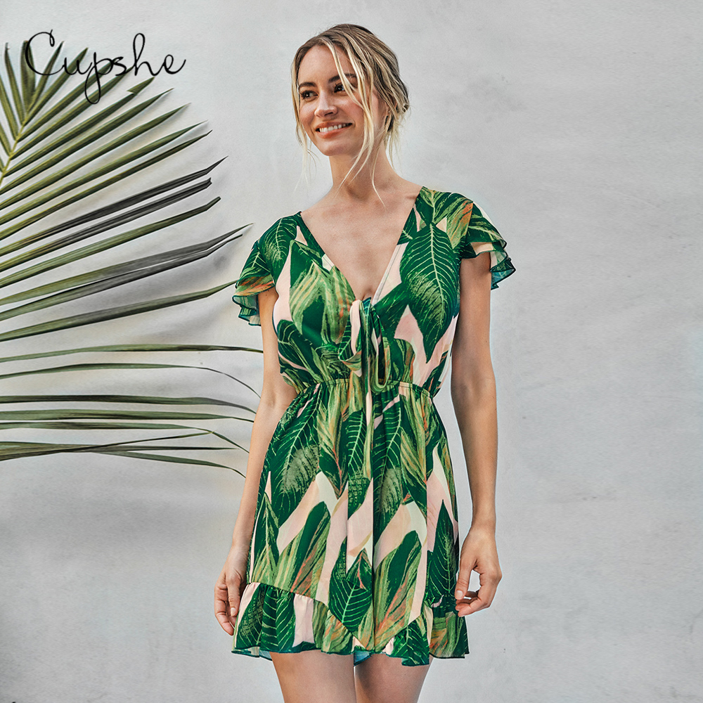 CUPSHE Palm Print Ruffles Romper Woman Sexy V-neck Short Jumpsuit 2019 New Elegant Overalls Summer Beach Female Streetwears