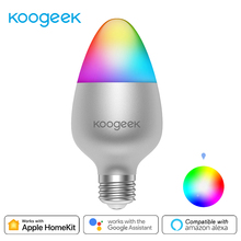 Koogeek 8W Dimmable Wifi Light E26 Smart LED Bulb 16 Million Colors for Apple HomeKit Remote Control for Alexa Google Assistant