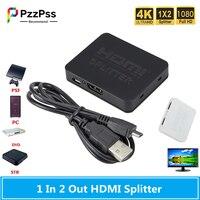 PzzPss-Divisor HDMI 4K, 1 entrada, 2 salidas, interruptor HDMI, 1x2, convertidor HDMI, pantalla Dual para ordenador, DVD, HDTV