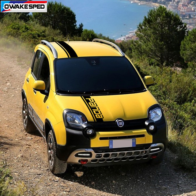 Car Hood Roof Tail Decor Stickers For-Fiat Panda Corss 4X4 OFF RAOD Stripes Exterior Auto Body Engine Cover Vinyl Decals 2