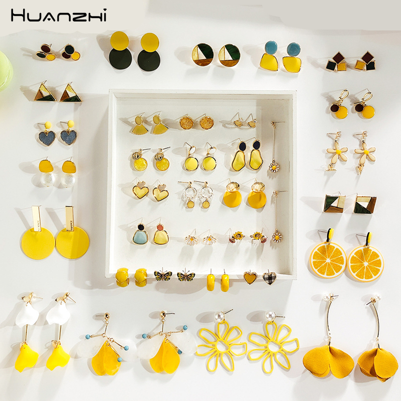 HUANZHI 2019 New Summer Yellow Metal Geometric Irregular Acrylic Acetate Earrings Sets For Women Girl Party Travel Gift Jewelry