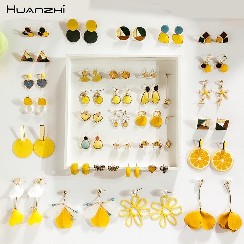 HUANZHI 2019 New Summer Yellow Metal Geometric Irregular Acrylic Acetate Earrings Sets For Women Girl Party Travel Gift Jewelry