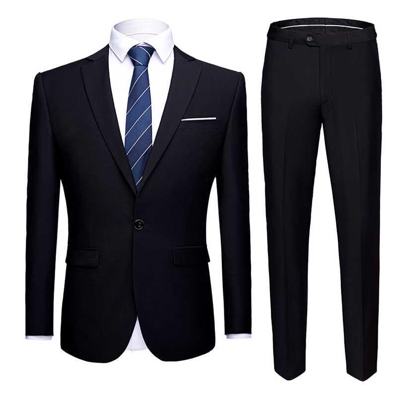 Mannen Pakken Slim Fit Uniform Kantoor Pak Bruiloft Bruidegom Party 2 Stuk Jas Broek Notch Revers Single Button formele Casual