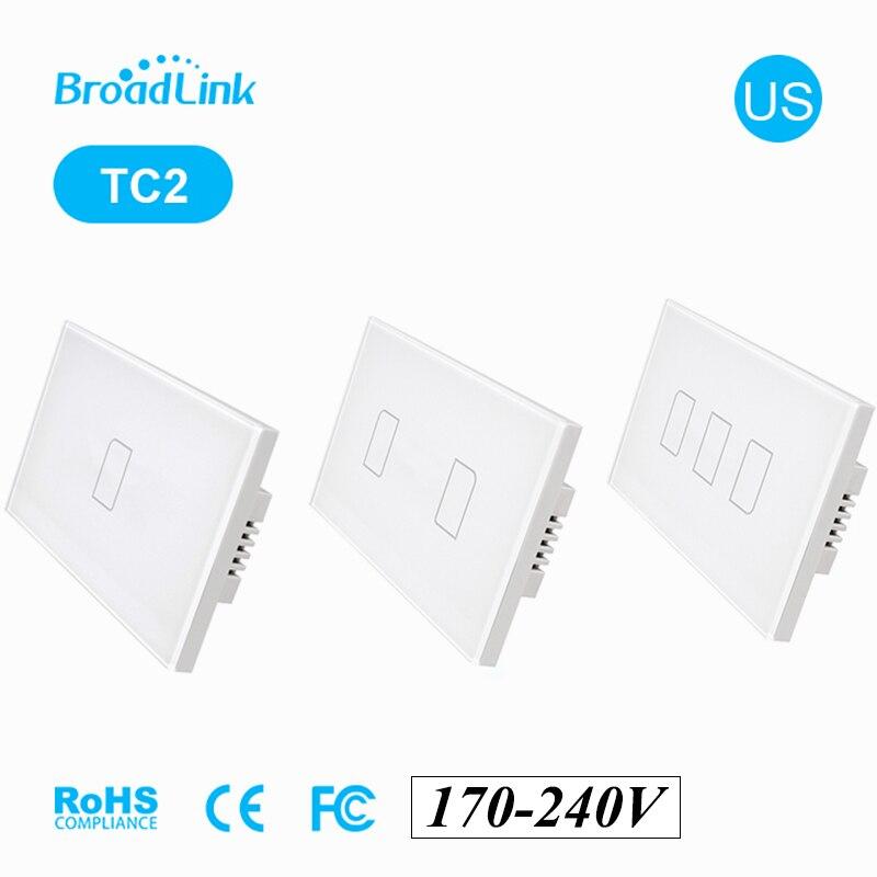 BroadLink TC2 123 gang 433Mhz US Wifi interrupteur mural sans fil écran tactile panneau 170-240V IOS Android téléphone télécommande
