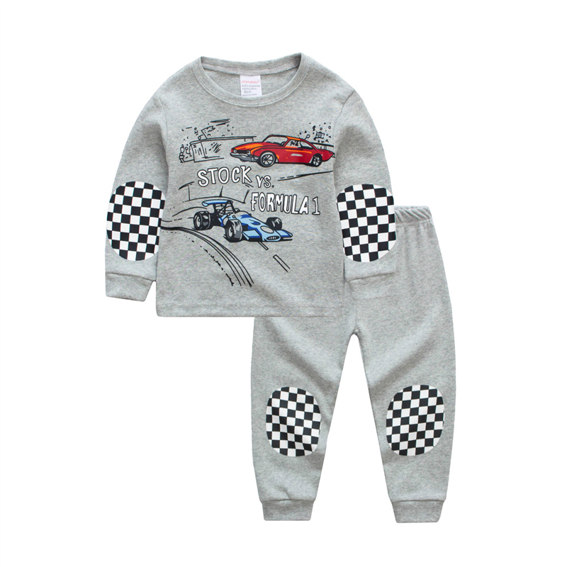 SAILEROAD Boys Cartoon Car Printed Pajamas Set Kids Pyjamas Cotton Children Pajamas For Girl Child Long Sleeve Night Wear Suits