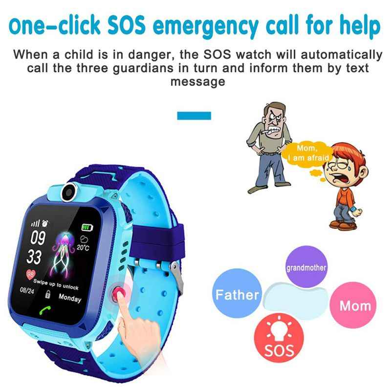 Children'S Watch Kids Smart Waterproof Watch Anti-Lost Kid Wristwatch With GPS Positioning And SOS Function For Android And IOS