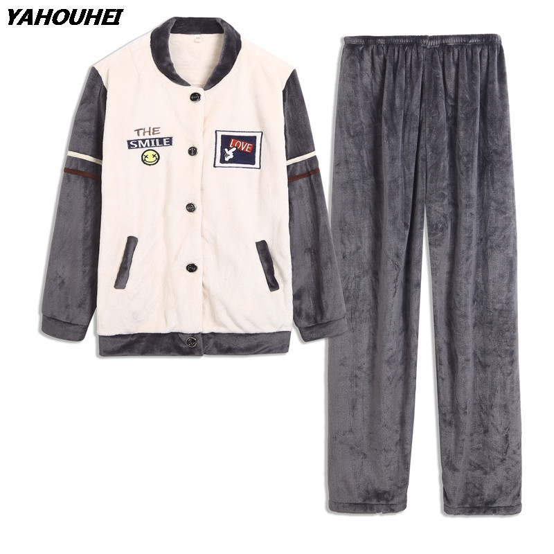 Thick Warm Cartoon Cardigan Flannel Pajama Sets For Men 2018 Winter Long Sleeve Coral Velvet Pyjama Male Homewear Lounge Clothes