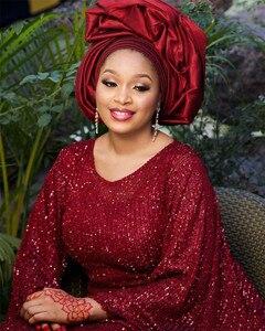 Image 5 - Tissu en dentelle à paillettes rouge populaire, tissu en dentelle africaine de haute qualité, avec paillettes, tissu en dentelle française pour femmes, mariage, APW3559B, 2020