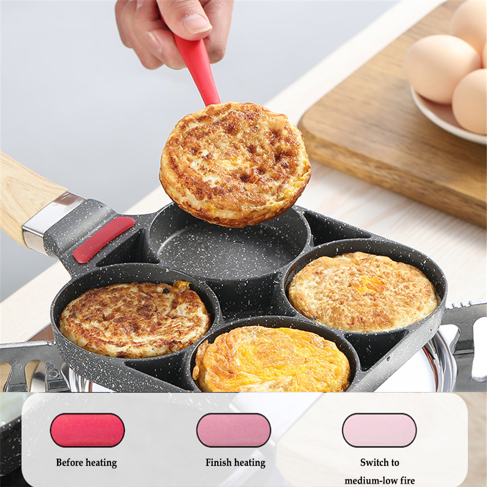 39 Cm Four-hole Omelet Pan For Eggs Ham Temperature Instruction Frying Pans Non-stick No Oil-smoke Breakfast Cooking Bacon Pan
