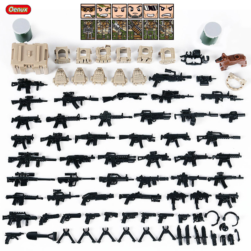 Oenux 6PCS Mini Camouflage Soldiers Figures Military Building Block Modern Army Soldier With Weapon MOC Block Brick Toy Boy Gift