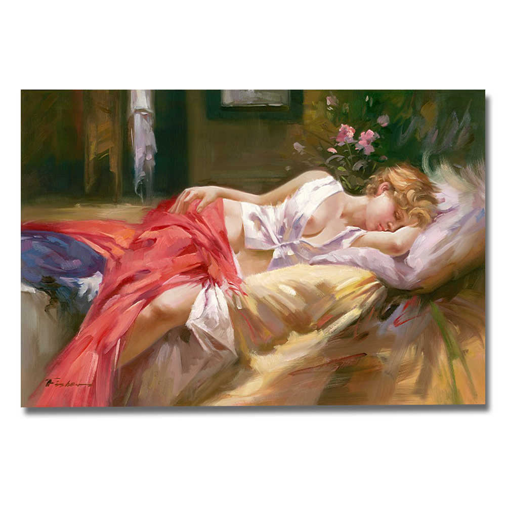 Sleeping Beautiful Nude Girl Europe Portrait Oil Painting Printed Picture On Cotton For Bedroom Living Room Wall Art Home Decor