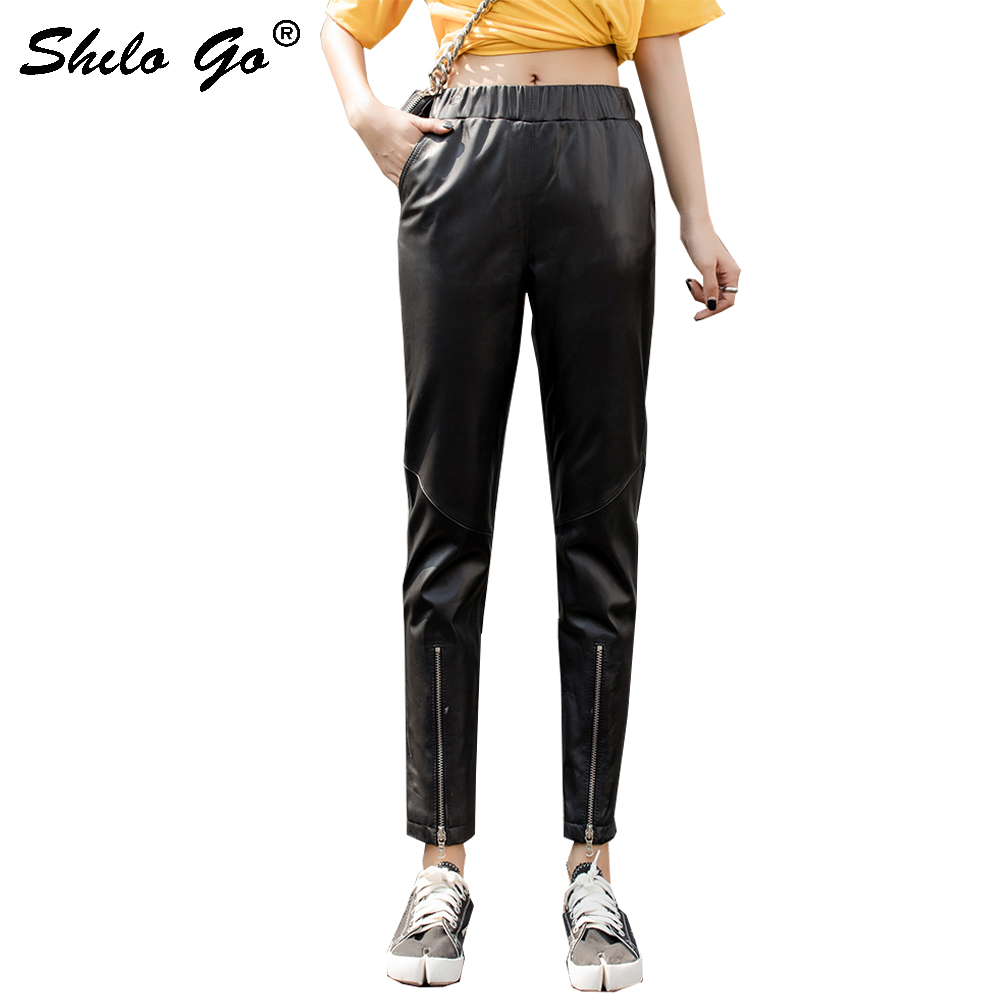 Genuine Leather Pants Black Elastic Waist Zip Detail Solid Sheepskin Pencil Pants Women Autumn Winter Casual Slim Fit Trousers