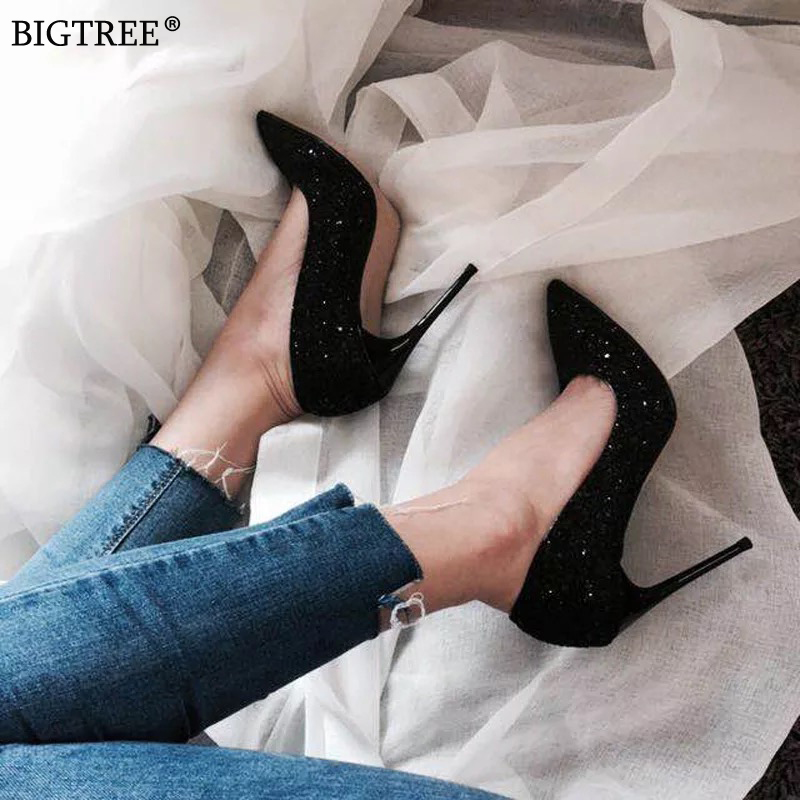 BIGTREE Shoes Women High Heels Sexy Wedding Pumps Female Bling Paillette Pointed Party Shoe 2020 Summer Heels Zapatos De Mujer