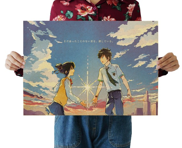 Your Name Vintage Kraft Paper Classic Movie Poster Map School Wall Garage Decoration  Art  Retro Prints