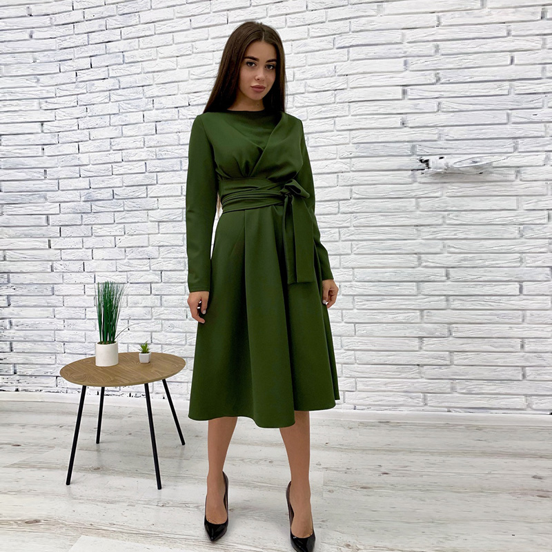 Women Casual Sashes A Line Party Dress Ladies Long Sleeve O Neck Elegant Solid Office Lady Spring Autumn Midi Dress Vintage