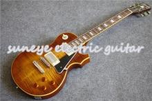 лучшая цена 100% Real Picture Black Pickguard Suneye Standard Electric Guitar High Quality China OEM Pearl Inlaid Guitarra For Sale