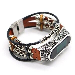 Image 2 - Voor Mi Band 4 Band Retro Echt Lederen Horloge Band Armband Voor Xiaomi Mi Band 5 Polsbandje Accessoires Voor Mi band 4 Pulseira