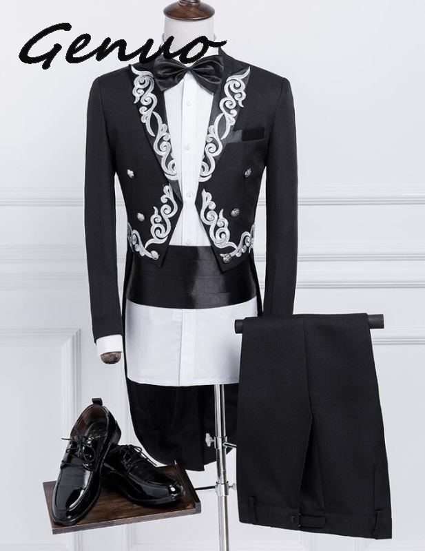 Genuo New Male Gold Silver Embroidery Lapel Tail Coat Stage Singer Groom Black White Wedding Tuxedos For Men Costume Homme