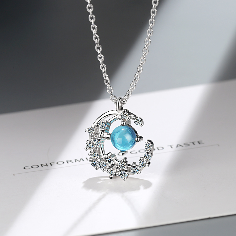 New Arrival Creative Fashion Moon 925 sterling silver Zircon Necklace Jewelry Blue Crystal Pendant Necklaces for Lady