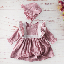 Autumn Girls Baby Birthday Romper Fashion Cotton Long sleeved One piece Skirt Rompers Hat Princess Toddler Kids Clothes Outfits