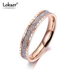 Lokaer OL Style or Rose couleur gommage anneaux pour femmes filles 3.5mm largeur acier inoxydable fête anniversaire quotidien bague R19025