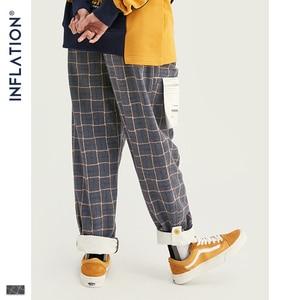 Image 4 - אינפלציה מותג רטרו משובץ צמר גברים מכנסיים Harajuku Loose ישר מקרית גברים מכנסיים 2020 AW רחוב סגנון זכר מכנסיים 93362W