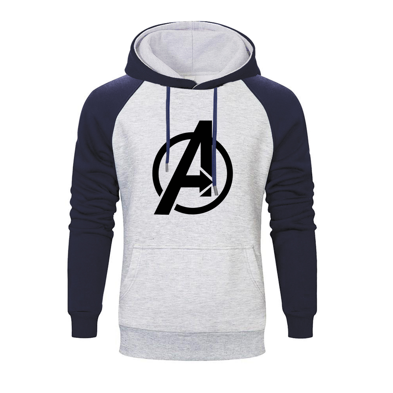Marvel Movie Avengers Logo Printed Raglan Hoodies Men 2019 Autumn Thanos Infinity Gauntlet Men's Sweatshirts Brand Pollovers