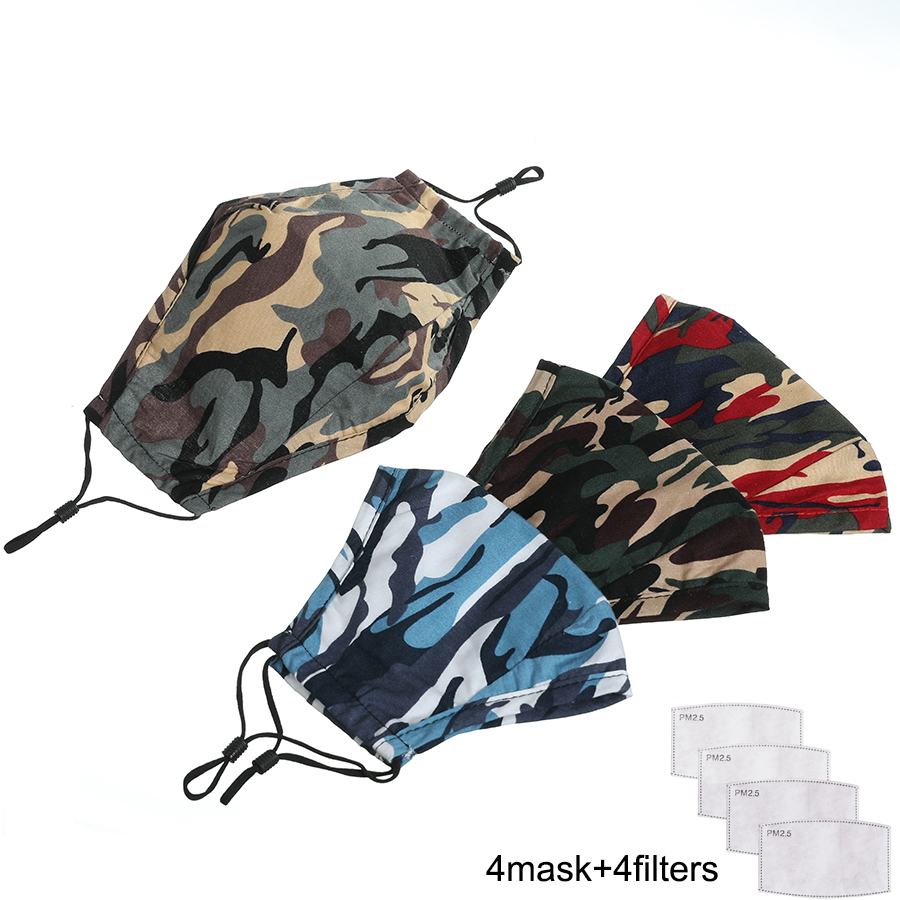Unisex Washable PM 2.5 Cotton Mouth Mask Women Mouth Caps With Filter Face Mask  Fabric Dust Camouflage Winter Mouth Mask