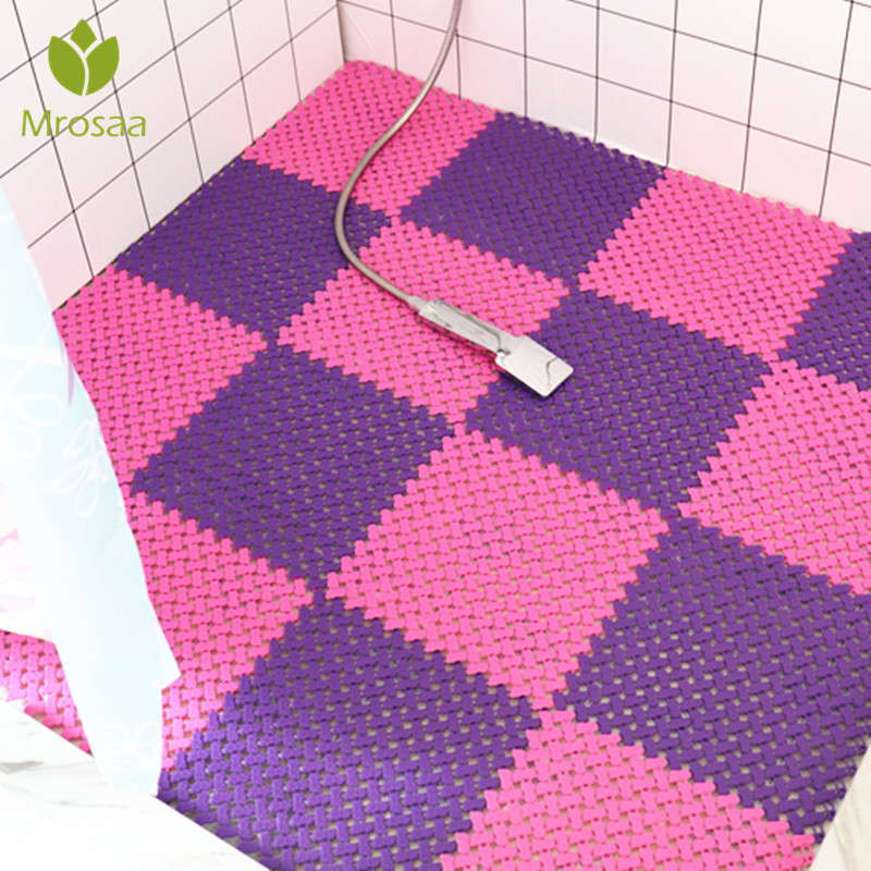 Hot Mrosaa Anti-slip Bathroom Soft Carpet Plastic Magic Patchwork Jigsaw Splice Heads Glass Door BathtubToilet Supply DIY Mats