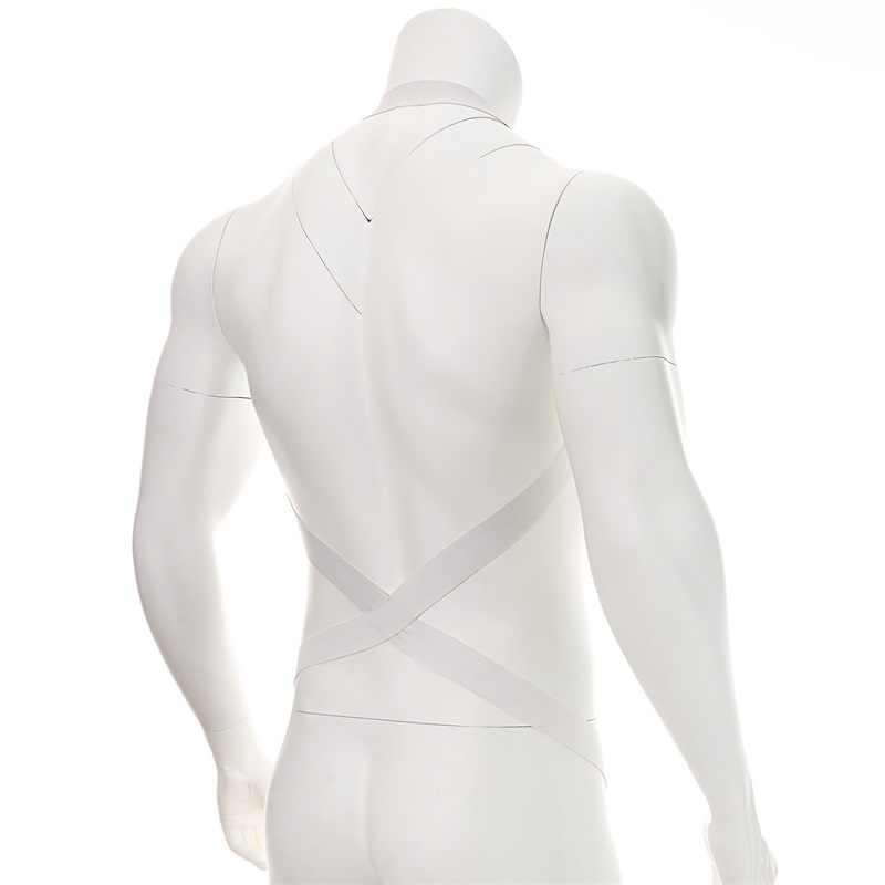 2018 novo estilo clubwear corpo elástico cabresto homem sexy bondage bodysuit masculino cinta zentai preto branco
