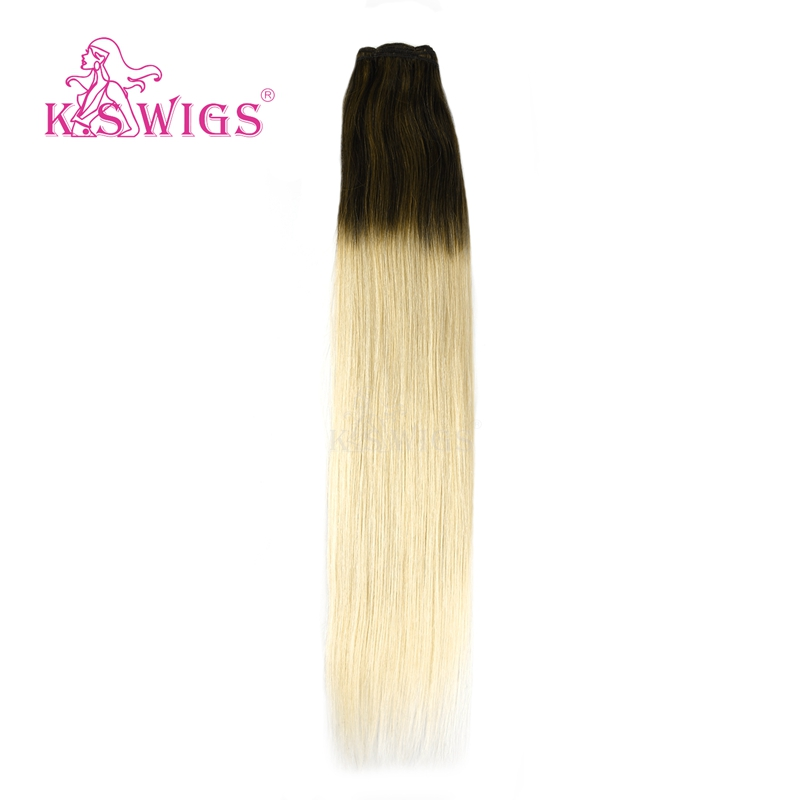 K.S WIGS 22'' Invisible Remy Human Hair Weft Toffee & Cream Balayage Color 100g/pc Hair Weave Bundles Double Drawn Hair