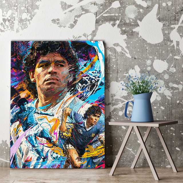Diego Maradona Football Poster Canvas Comics Printed sports Decoration Painting Home Wall Living Study Room Child Room Bedroom 2