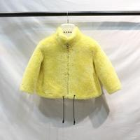Hot Sale Cashmere Coat Children Real Sheep Shearling Fur Jacket Suede Lining Modis Outerwear Kids Clothes Real Fur Jacket Y2111