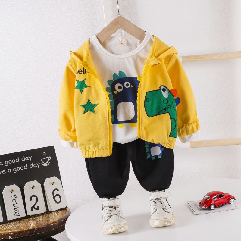 Baby Boys Clothes 3PCS Set Autumn Toddler Kids Long Sleved T-shirt Tops + Hooded Clothes Pants Children Girl Clothing Set