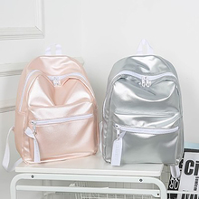 Fashion Campus Student Schoolbag PU Solid Color Glossy Backpacks Simple Waterproof Women Travel Backpack High Quality Bags New