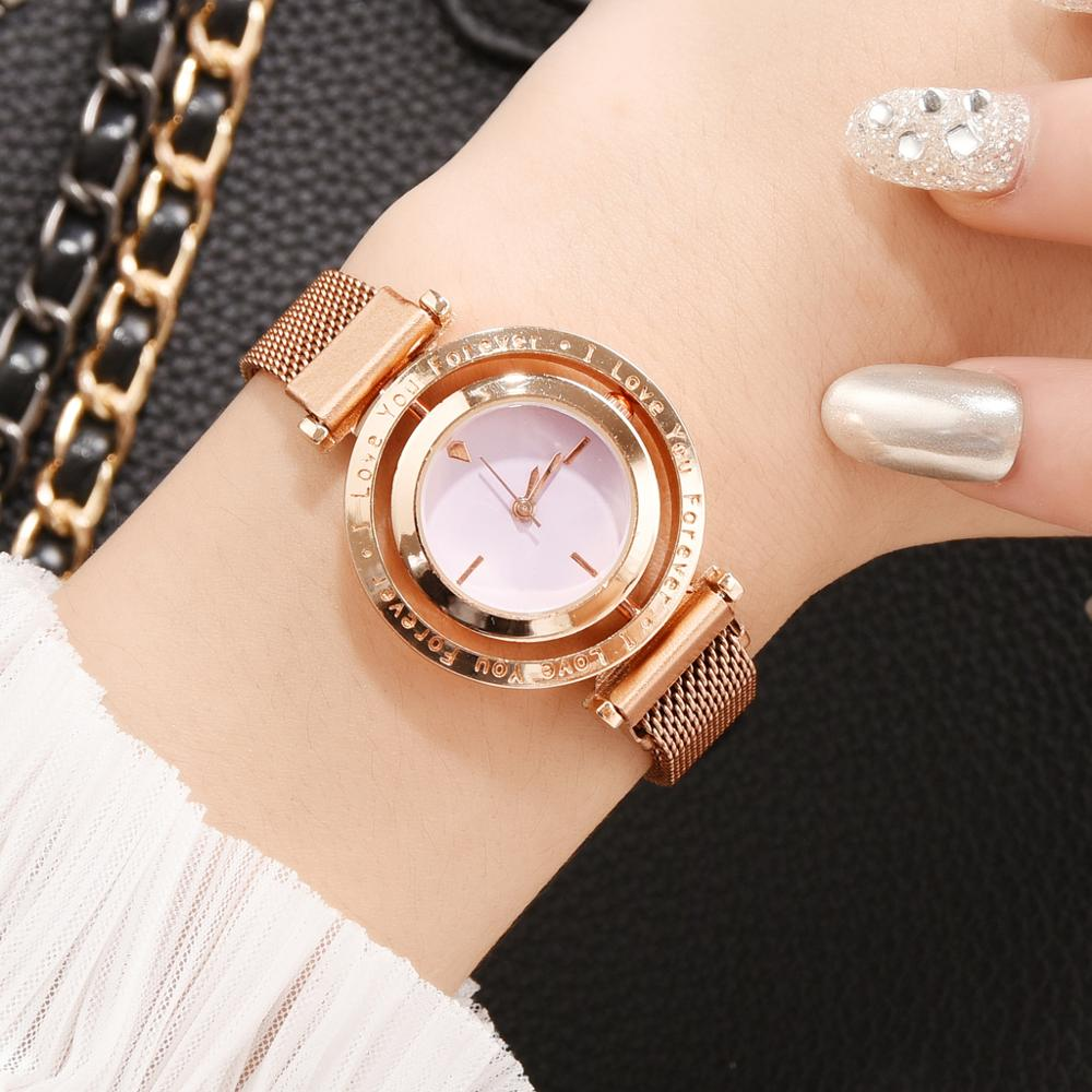 Women Magnetic Watches Rotate Dial Fashion Ladies Quartz Clock Magnet Buckle Casual Business Party Girls Gift Wristwatch