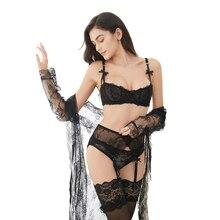 Luxo meia xícara de renda transparente lingerie sexy ultra fino sólido lolita estilo 4 peças/lotes conjunto sutiã e liga e meia
