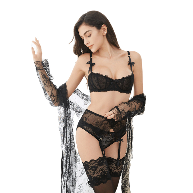 Luxury Half Cup Lace Transparent Sexy Lingerie Ultra thin Solid Lolita Style 4 Pieces/Lots Bra Set and Garter and Stocking