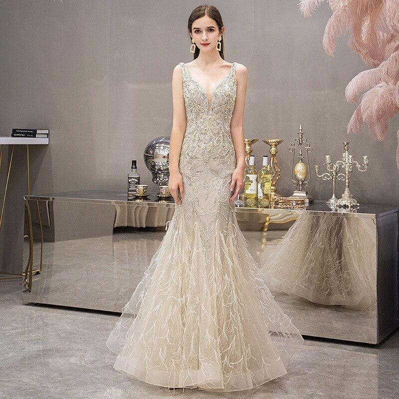 2019 Новое сексуальное роскошное вечернее платье с v-образным вырезом и бусинами на заказ вечерние платья