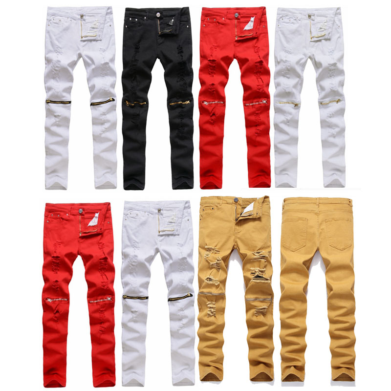 2020 New Mens Distressed Biker Jeans Skull Patchwork Fashion Pleated Ripped Denim Joggers Black Slim Fit Trousers With Patches