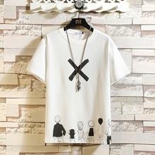 Casual Short Sleeve T Shirt Men'S 2021 Summer Tshirt Top Tees Black White Fashion HIP HOP Clothes Plus OverSize M-5XL O NECK