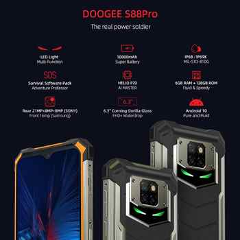 "DOOGEE S88 Pro 6.3"" Rugged Mobile Phone IP68/IP69K Smartphone Helio P70 Octa Core 6GB 128GB ROM Cellphone Android 10.0 10000mAh"