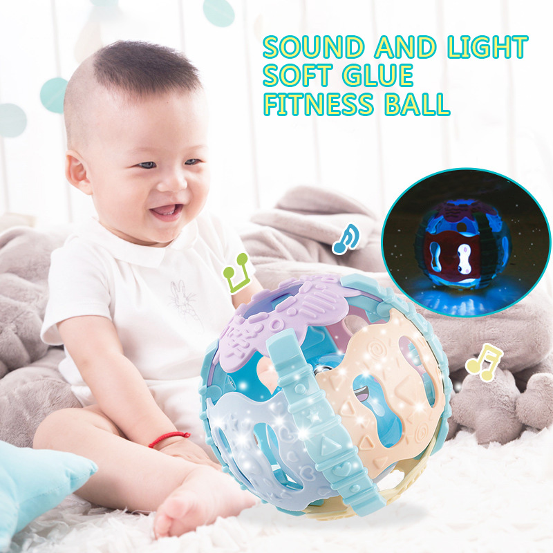 Baby Hand Knocking Rattles Lights Ball Baby Soft Rubber Rattle Ball With Light And Music Early Educational Toys For Kid Gifts