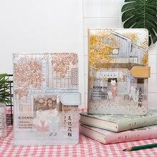 Cubierta de cuero de cuaderno de gato japonés A5, Agenda creativa, carpeta de página de Color, diario, regalo escolar, Filofax, 2020