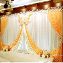 Fashion Ice Silk Cloth Wedding Decoration Background Curtain Show Stage Got Engaged Party Fold Background Veil(China)