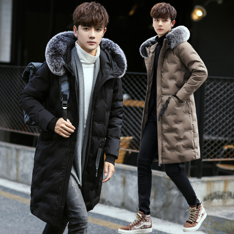 WSPLYSPJY Mens Hooded Winter Thickened Long Down Jacket Overcoat Outwear