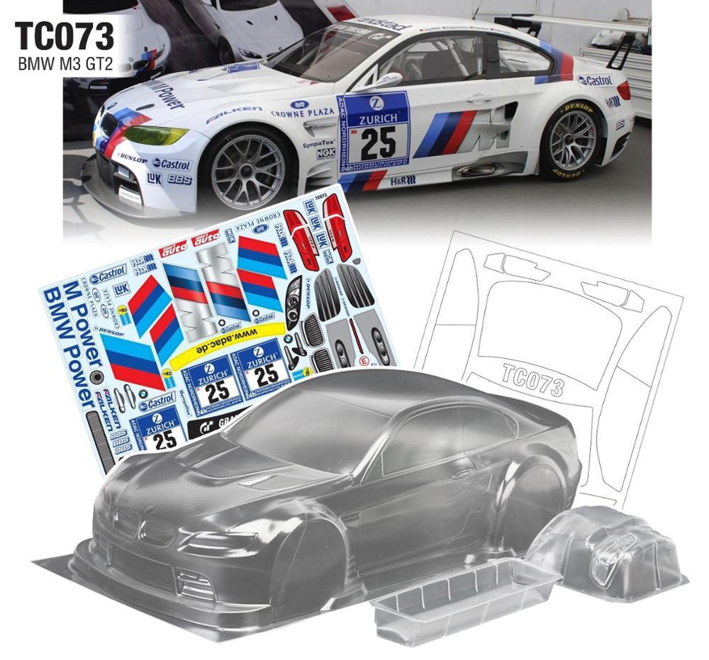 High quality 1/10 M3 GT2 RC PC Shell 190mm width Transparent clean no painted drift body RC for hsp mst yokomo Tamiya hpi
