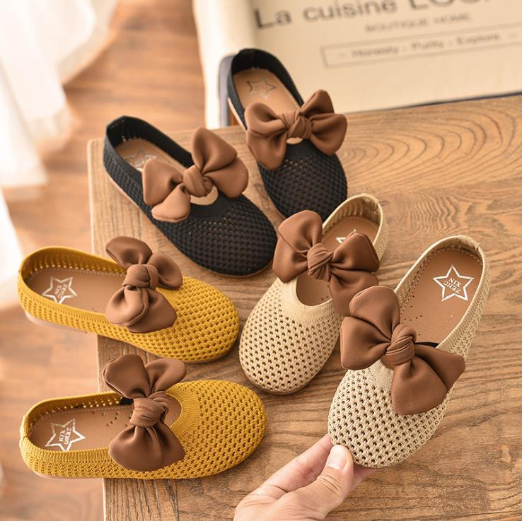 2020 New Children Girls Kittens Bowknot Princess Shoes Flat Casual Hollow Out Shoes 3colors 21-30 20201 TX07