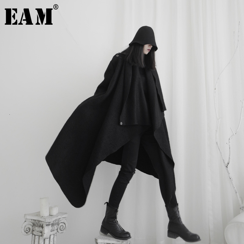 [EAM] Women Black Asymmetrical Big Size Trench New Lapel Long Sleeve Loose Fit Windbreaker Fashion Spring Autumn 2020 19A-a572