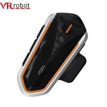 QTBE6 robot intercomunicador QTBE6 con Bluetooth, casco de motocicleta inalámbrico a prueba de agua, auriculares manos libres con Radio FM para 2 conductores